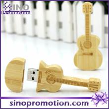 Unidad USB Flash miniatura al por mayor de la guitarra de madera 8GB
