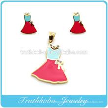 Fahion hochwertige Edelstahl bunte Emaille junge Mädchen Rock Anhänger und Ohrringe Schmuck-Set mit glänzenden Kristall