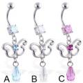 Piercing com Dangling jóias borboleta e pedra