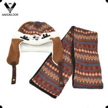 Invierno cálido Jacquard Knit linda niños sombrero y bufanda