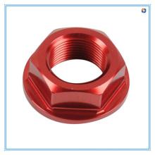 Porcas vermelhas da flange do zinco M8 feitas de materiais de alumínio