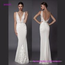 A bainha Embroideried V profundo vestido de noiva com decote em V