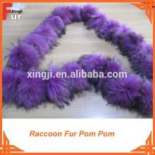 Chinese Raccoon Fur Pompom, Real Fur Pompom