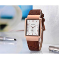 Rose Gold Stainless Steel Quarts Chronographe Montre en cuir marron en dames