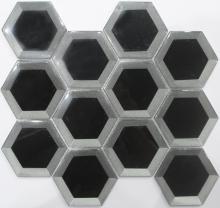Perak dan hitam heksagon sejuk menyembur mozek