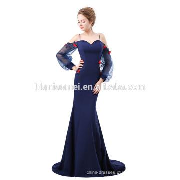 2018 Elegante vestido de noite de sereia decote com mangas
