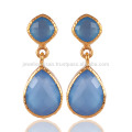 Blue Onyx and 18K Gold Plated Fashion Earring