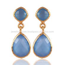 Onyx azul y pendiente de la manera plateada oro 18K