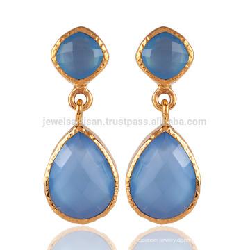 Blaues Onyx und 18K Gold überzogener Art- und Weiseohrring