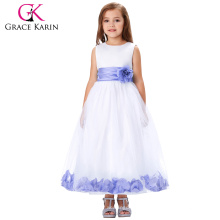 Grace Karin Plum White Sleeveless Flower Decorated Baby Girls Party Dress 2~12 Years CL008936-7