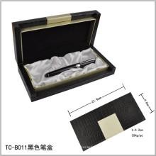 Caixa de conjunto de caneta com logotipo gravado a laser preto pesado