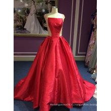 Красная атласная Принцесса свадебное платье с тонким бисером работы