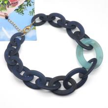 Trendy simple chunky hip hop women dye dark color acrylic cuban necklace