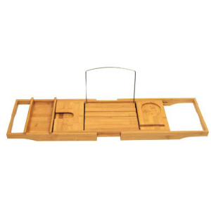 Bamboo bathtub tray with extending sides