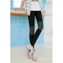 Women Autumn See Through Strip on Knees Legging