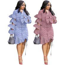 Good Quality Striped Ruffled Shirt Fashion Ladies Dress Elegant Autumn Womens Fall Clothing 2021 Casual Long Sleeve Dresses