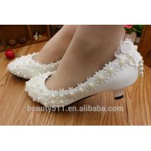 La primavera y el verano nuevos zapatos de moda blanca casada para los zapatos de las mujeres de vestido de boda de fiesta de cumpleaños WS010
