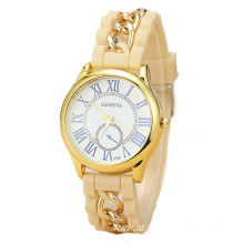 Round face women silicone watch