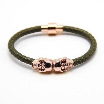 Mens Utara Skull Metal Charm Black Leather Gelang