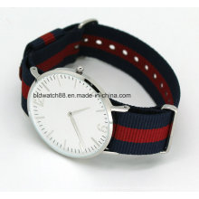 Hot Sports Stainless Steel Slim Nylon Band Watch for Man Woman