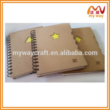 Eco recycled kraft paper cover spiral notebook,diary notebook with index cards
