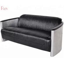 Black PU sofa 3 seater chair furniture for aviation chair