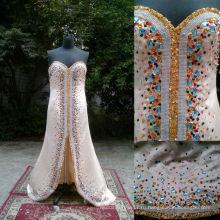 З-464 новое Прибытие Handbeaded игристое щелевая передняя Вечерние платья