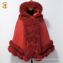 Genuine Red Color Fox Fur Cape Shawl With Large Fox Fur Trimming