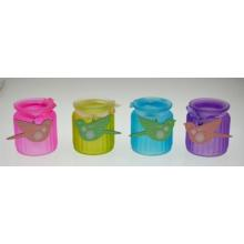 New Design Colorful Glass Candle Jar with Ribbon