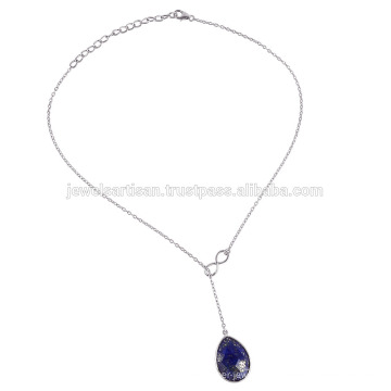 Genuine Lapis Lazuli Gemstone 925 Sterling Silver Chain Necklace