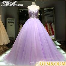 2016 China Alibaba fornecedor noite vestido de noiva de casamento roxo vestido de esfera com contas