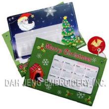 Cartões bordados do calendário de X'mas