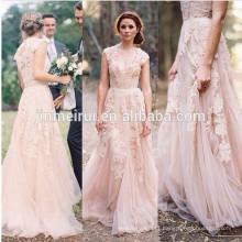New Arrival Blush Pink V Neck Lace Applique Long Bridal Wedding Dress Women Gown JWD129