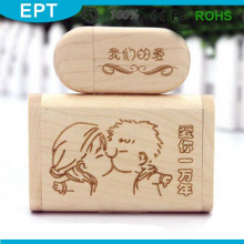 Wooden Box USB Custom Logo Flash Drive for Promotional