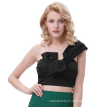 Belle Poque Sexy Womens Asymmetrical One Shoulder Big Bow-Tie décoré Cropped Black Tops BP000343-1