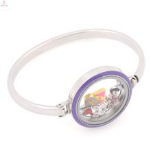 Wholesale solid glass bangle bracelet 316l stainless steel enamel purple locket bangle