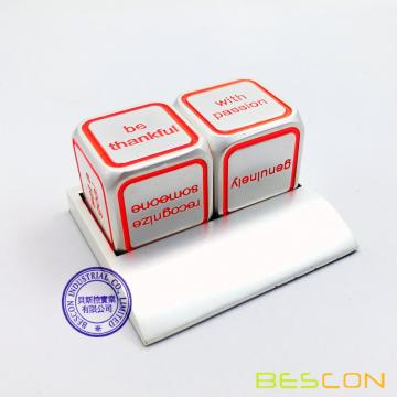 Bescon Promotional Motivational Solid Metallic Dice Set, 2pcs Motivational Desktop Metal Dice Set One Inch D6 Matt Silver