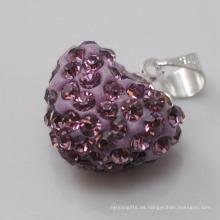 Regalo de boda Shamballa Colgante pendiente cristalino púrpura de la arcilla de la llegada 15MM de la forma al por mayor del corazón al por mayor para la joyería de DIY