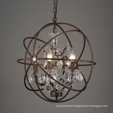 Vintage Led Pendant Light Chandelier Hanging Lamp Globe Crystal Chandelier Lighting  for Dining Room
