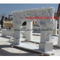 Escultura de piedra blanca de mármol chimenea (SY-MF004)