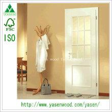 Porte d'entrée composite en bois apprêté blanc