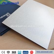 Painel composto de alumínio da placa do painel de prata do acp da textura para a decoração do revestimento da parede
