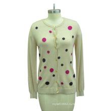 Женщины печатных с длинным рукавом джемпер свитер с кнопкой