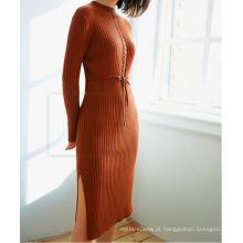 PK18CH005 tecido costela de algodão coletar cintura vestido de manga comprida camisola apertada vestido pullover