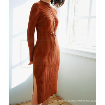 PK18CH005 Baumwolle Rippe Stoff sammeln Taille Kleid Langarm engen Pullover Kleid Pullover