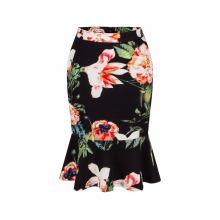 2017 European high waist ladies fashion short skirt tail printing pencil women skirts