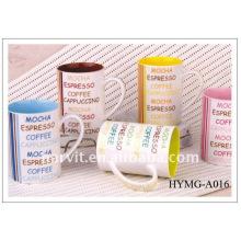 Vente en gros 2015 11oz nouvelle tasse de café en osaine / tasse de café en corps droit / décalque de prix d'usine imprimé de nouvelles tasses en porc