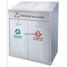 Cubo de basura clasificable público de dos compartimientos (DL107)