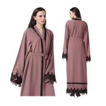 Premium polyester Robe Femme Moyen modèles perle dentelle dubai musulman Abaya