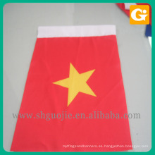 Bandera de mano de madera de la tela del poliester del fabricante de China